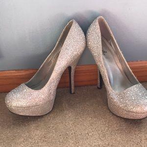 Qupid Silver High Heels